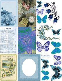 Free Collage Sheets by Art and imagesbykim: Free: Blue Butterflies Digital Collage Sheet Papel Vintage, Vintage Ephemera, Vintage Stamps, Vintage Paper, Free Printable Art, Printable Paper, Free Printables, Free Collage, Digital Collage