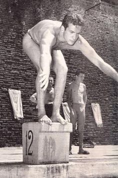 Carlo Pedersoli (later Bud Spencer) as a swimming champion in 1949