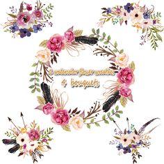 3.5USD 1 Watercolor flower wreathes & 4 flower bouquet, Floral Frame PNG, wedding bouquet, arrangement, bouquet, digital paper, green flowers, bridal shower, for blog banner
