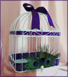 Peacock Wedding Table Decor or Card Box With Peacock Feathers. $55.00, via Etsy.