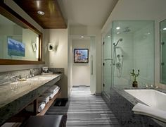 verglastes badezimmer mit holzelemente