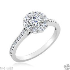 14K White Gold Finish Diamond Solitaire Engagement Silver Ring 0.58 Ct D/VVS1