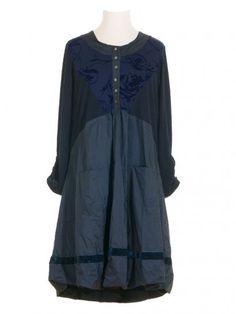 Damen Kleid mit Samt, nachtblau