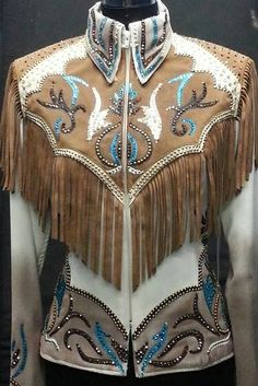 Taupe, Brown and Teal Green Fringe Jacket