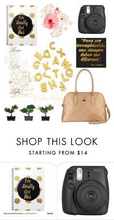 """Un espacio dorado"" by alex-groma ❤ liked on Polyvore featuring Fujifilm, Nearly Natural and Grishibags"