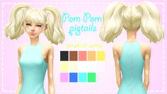 ♡ Pastel-sims ♡ Pom Pom Pigtails! ♥ | Sims 4 Updates -♦- Sims ...