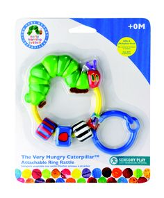 Plastic Attachable Ring Rattle by Kids Preferred- This rattle will provide baby with hours of entertainment thanks to moving beads, various textures and the always lovable Very Hungry Caterpillar. Includes easy-to-clip ring for on-the-go play time.