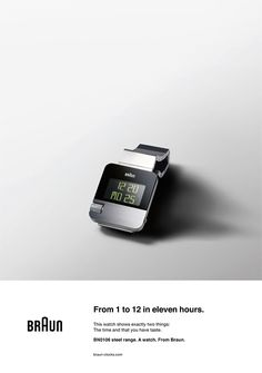 Braun   From 1 to 12 in Eleven Hours G Shock Watches, Cool Watches, Watches For Men, Dieter Rams Design, Braun Dieter Rams, Braun Design, Design Industrial, Great Ads, Poster Design