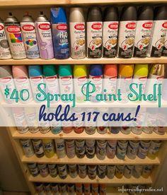 Garage tool organization DIY Spray Paint Shelf holds 117 cans! Spray Paint Storage, Spray Paint Furniture, Spray Paint Cans, Painting Furniture, Spray Painting, Painting Tips, Diy Garage Storage, Craft Storage, Storage Ideas