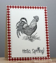 hand stamped card by tracey ... Spring greeting ... gingham background mat ... large line drawing of a rooster ... great country look with a mod edge ....