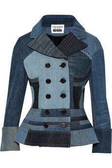Women's Denim Jackets : Junya Watanabe – Patchwork denim peplum jacket Denim Ideas, Denim Trends, Jeans Denim, Denim Coat, Denim Blazer, Denim Mantel, Diy Vetement, Mode Jeans, Denim Patchwork