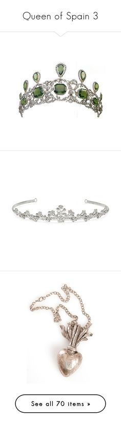 """""""Queen of Spain 3"""" by satikok ❤ liked on Polyvore featuring accessories, hair accessories, crowns, jewelry, tiaras, crown hair accessories, tiara crown, crown tiara, silver crown and jon richard"""