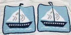 new crocheted pot holder, sailboat pot holder, sailboat decoration, kitchen…