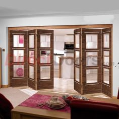 Nuvu Roomfold Murcia Walnut Veneered 6 Door Set with Clear Safety Glass, 2078mm high and 3732mm or 4188mm wide.  #nuvu