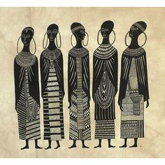 This piece of African art by Heidi Lange is screen printed by hand onto earthtone batiked cotton in Kenya.  The art depicts the life and the people of Kenya.
