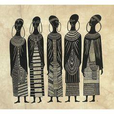 Heidi Lange  Maasai Women  Cotton Screen Print (Kenya)   Overstock.com 8e391d8004