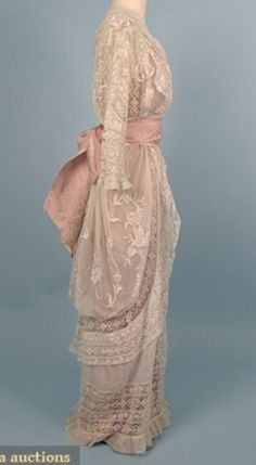 Side view Edwardian lacy pink gown
