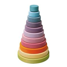 Grimm's Large Conical Tower in pastel This large wooden stacking tower comes with 11 chunky pieces in a rainbow of pastels. Children build strong grip, co-ordination and precision as they sort the coloured rings on the stacker. Grimm's Toys, Baby Toys, Toddler Toys, Kids Toys, O Grimm, Wooden Wagon, Stacking Toys, Natural Toys, Montessori Toys