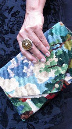 Pochette Enveloppe en canevas vintage, Esprit Upcycling leshopdemoz.com