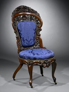 American Rococo Revival Side Chair By John Henry Belter Of New York, Featuring Grapevine Motif   c.1855