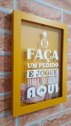 quadro cofre porta moedas cédulas pedido amarelo