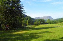 lower camping field looking towards the Manod mountains, Llechrwd Riverside Campsite