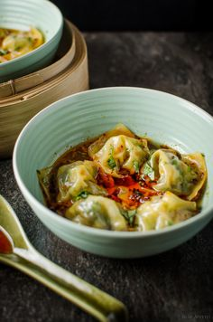Steamed Wontons in Chili Broth by burpappetit #Dumplings #Wontons #Chili
