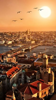 Istanbul. During sunrise with bright, shining sun.