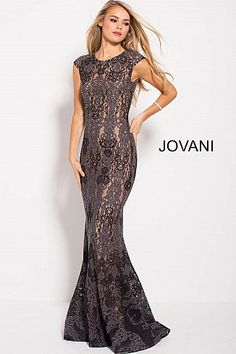 52b2ede9ebd Charcoal Fitted Cap Sleeve embellished Lace Prom Dress 59816 Jovani Dresses