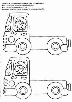Actividades para niños preescolar, primaria e inicial. Fichas para niños para imprimir con dibujos para relacionar y pintar. Relacionar y Pintar. 45