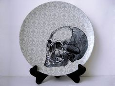 Halloween Skull Plate  Decorative Plate  Dining   by BurkeHareCo, $18.00