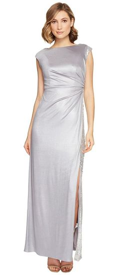 Adrianna Papell Jersey Draped Sequin Inset Gown (Silver) Women's Dress - Adrianna Papell, Jersey Draped Sequin Inset Gown, AP1E201199-580, Apparel Top Dress, Dress, Top, Apparel, Clothes Clothing, Gift, - Street Fashion And Style Ideas