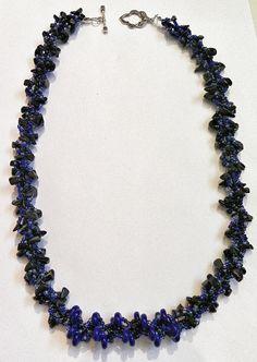 Midnight Blue Beadwork Necklace  Dark Blue Royal Blue by DuMoments