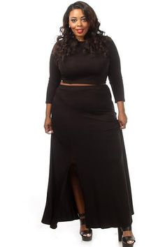 571979e65157c This sexy plus size set has a solid crop top with a matching high waist maxi