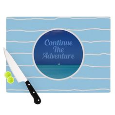 Kess InHouse Deepti Munshaw 'Continue The Adventure' Blue Aqua Cutting Board