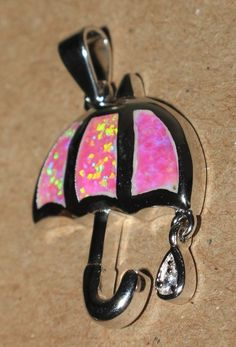 pink fire opal necklace pendant gemstone silver jewelry elegant Umbrella N0054 #Pendant