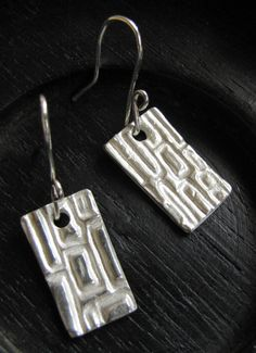 Fine Silver Earrings Textured PMC Silver