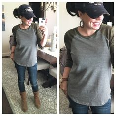 super soft camo tee, distressed jeans, my slim profile UGG boots, and my new wood earrings (same ones seen on Joanna Gaines!!!!)