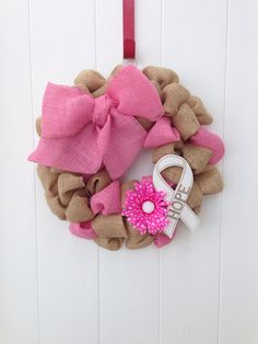 Breast Cancer Pink Burlap Wreath by onceuponaflowerbyMW on Etsy, $27.00