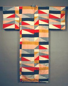幾何模様秩父銘仙着物 Chichibu Meisen Kimono with Multicolor Checks
