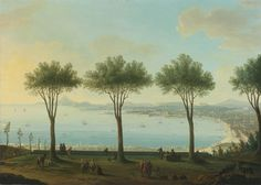 "antonio joli - ""view of the bay of naples from the south (possibly poggioreale) looking north with a king of the bourbon family, possibly ferdinand IV, in the foreground"", oil on canvas. Plastic Art, Traditional Paintings, Old Master, Naples, Landscape Paintings, Oil On Canvas, Modern Art, Artsy, Fine Art"