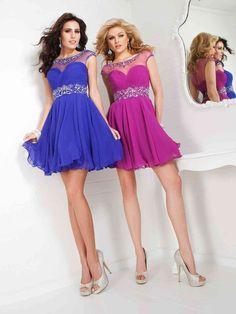 Jewel Short Blue Chiffon A Line Homecoming/Cocktail Dress