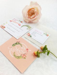 beautiful pastel pink wedding stationary