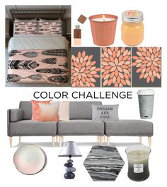 """""""gray and peach"""" by struckbydreamshade ❤ liked on Polyvore featuring interior, interiors, interior design, home, home decor, interior decorating, Dot & Bo, SONOMA Goods for Life, Fitz & Floyd and Park B. Smith"""