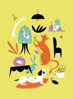 A household with a menagerie of happy animals. My Vintage Avenue !!! 50's and 60's illustrations !!!: My Greeting Cards for Betty & Dupree =)