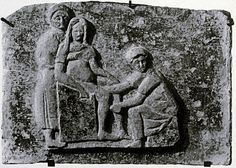Funerary Relief of a Midwife, from Ostia, Italy, ca. 150-200, painted terracotta, Ancient Roman, High Empire, Antonine, 138-192.