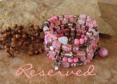 Reserved  Pink Peach Layered Bracelet Storybook by BohoStyleMe