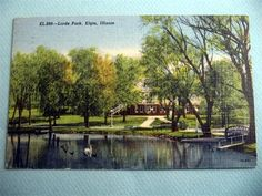 Lords Park Elgin Illinois IL Vintage Linen Postcard | eBay