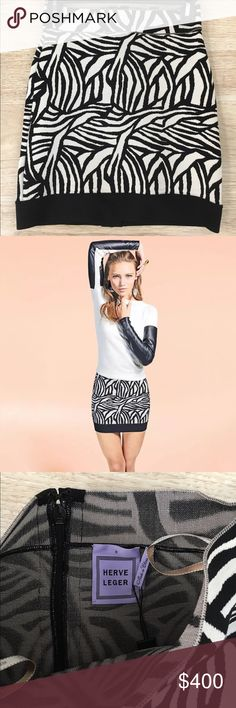 HERVE LEGER GALENA Zebra Print Mini Bandage Skirt New never worn, bought it new never fit. Brand New size Small Herve Leger Skirts Mini