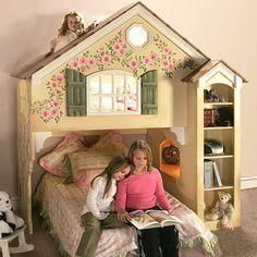 An adorable Dollhouse-themed loft bunk bed.